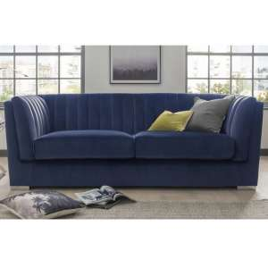 Flores Fabric 2 Seater Sofa In Blue Velvet With Chrome Legs