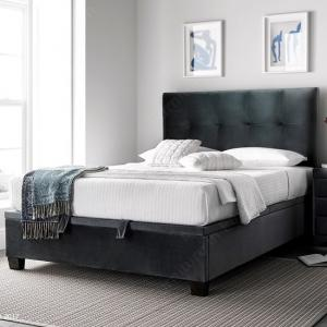 Florus Ottoman Storage King Size Bed In Velvet Cliffe Mid Grey