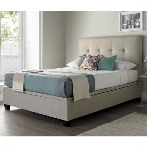 Florus Fabric Ottoman Storage King Size Bed In Oatmeal
