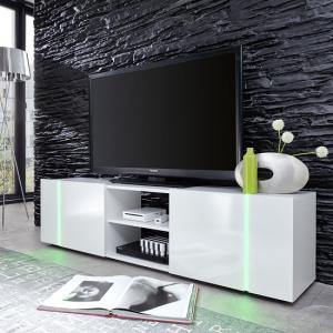 Florus LCD TV Stand In White With Gloss Fronts And LED_3