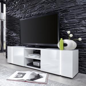 Florus LCD TV Stand In White With Gloss Fronts And LED_2