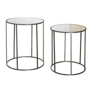 Flower Of Life Glass Top Set Of 2 Side Table With Metal Frame