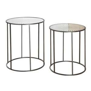 Flower Of Sun Glass Top Set Of 2 Side Tables With Metal Frame