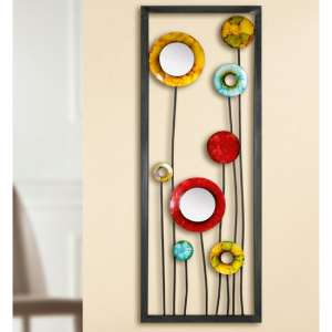 Flowers Metal Wall Art In Multicolor And Black