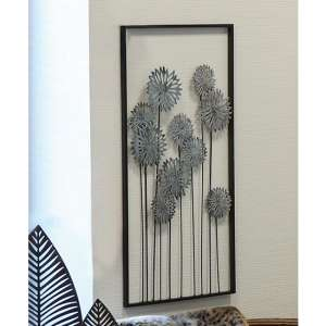Flowers Metal Wall Art In Silver With Antique Dark Brown Frame