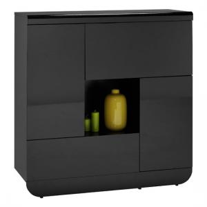 Fiesta Black High Gloss Small Sideboard With 2 Doors And 2 Flaps