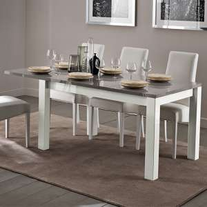 Fly Extending Wooden Dining Table In White And Grey High Gloss