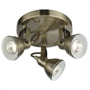 Focus 3 Light Ceiling Spot Light In Antique Brass
