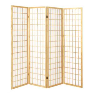 Wooden 4 Panel Folding Room Divider In Natural