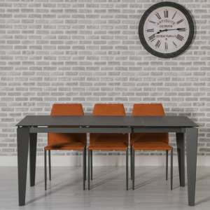 Folio Extendable Glass Dining Table In Grey And Metal Frame