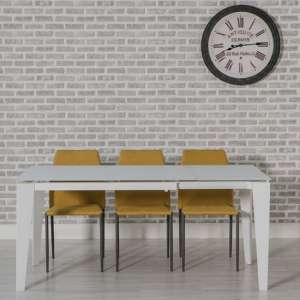 Folio Extendable Glass Dining Table In White And Metal Frame