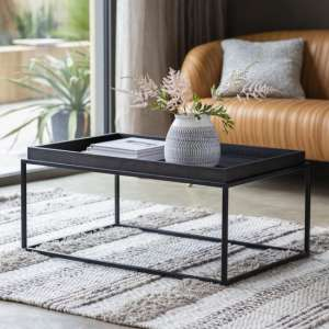 Forden Wooden Tray Coffee Table In Black