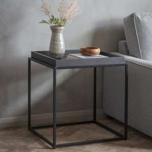 Forden Wooden Tray Side Table In Black