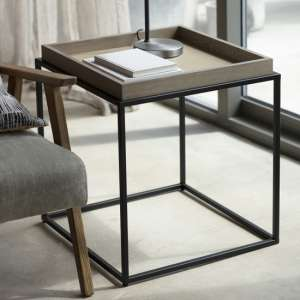 Forden Wooden Tray Side Table In Grey