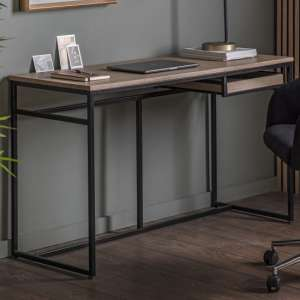 Forden Wooden Computer Desk In Oak With Metal Frame