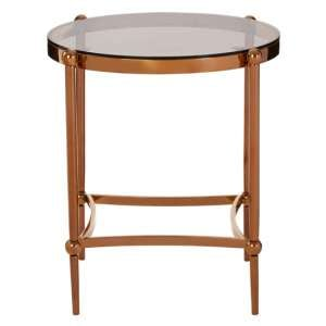 Denebola Glass Top Side Table In Rose Gold