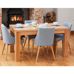 Fornatic Dining Table In Mobel Oak 4 Grey Fabric Harrow Chairs
