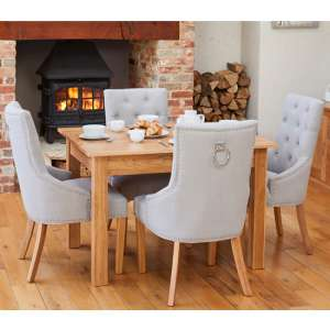 Fornatic Dining Table In Mobel Oak With 4 Harrow Grey Chairs