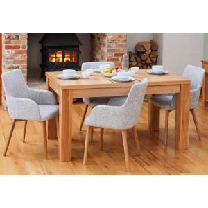 Fornatic Dining Table In Mobel Oak 4 Light Grey Harrow Chairs