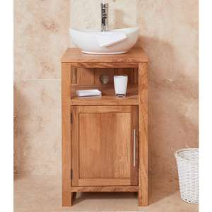 Fornatic Mobel Oak Small Bathroom Vanity Unit And Round Basin