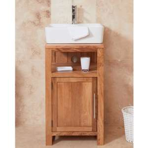 Fornatic Mobel Oak Small Bathroom Vanity Unit And Square Basin