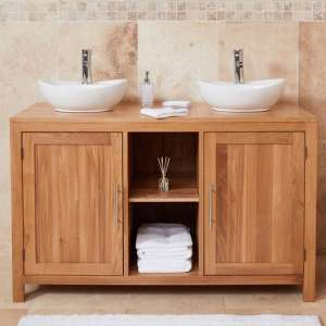 Fornatic Mobel Oak Bathroom Vanity Unit And Dual Round Basin