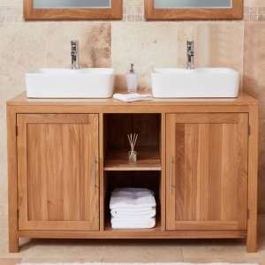 Fornatic Mobel Oak Bathroom Vanity Unit And Dual Square Basin