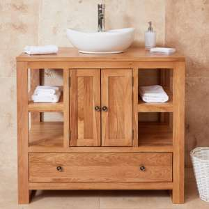 Fornatic Mobel Oak Bathroom Vanity Unit And Round Basin
