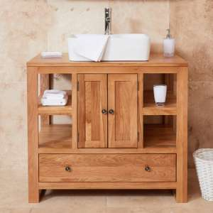 Fornatic Mobel Oak Bathroom Vanity Unit And Square Basin