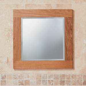 Fornatic Small Bathroom Mirror In Solid Oak Wooden Frame