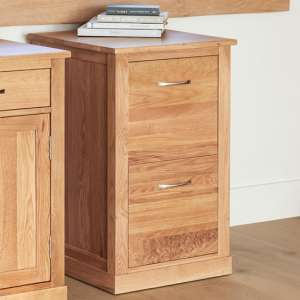 Fornatic Wooden Filing Cabinet In Mobel Oak With 2 Drawers