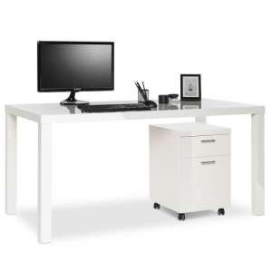 Fortis Computer Desk With Pedestal In White High Gloss