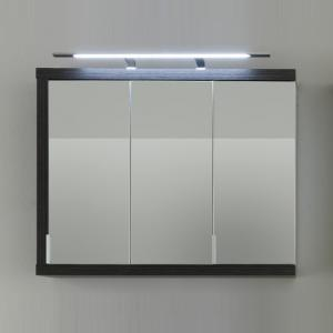 Forum Wall Mirror Cabinet In Smoky Silver High Gloss Fronts LED