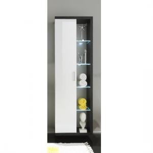 Forum Wall Mount Cupboard In Smoky Silver High Gloss Fronts LED