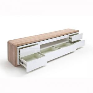 Frame TV Stand In Oak And White Gloss And LED_2