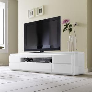 Frame LCD TV Stand In White High Gloss With 5 Drawers and LED