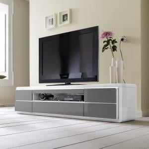 Frame LCD TV Stand In White Grey Gloss With LED And 5 Drawers