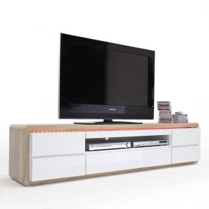 Frame TV Stand In Oak And White Gloss And LED_3