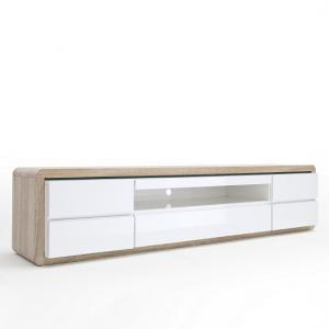 Frame TV Stand In Oak And White Gloss And LED_4