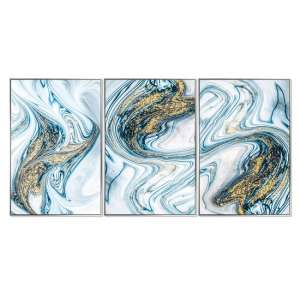 Acrylic Framed Pictures Aqua Marble Effect (Set Of Three)