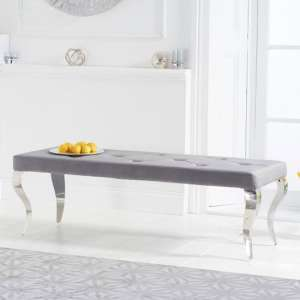 Franca Velvet Large Bench In Grey With Metal Legs