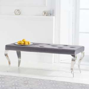 Franca Velvet Small Bench In Grey With Metal Legs
