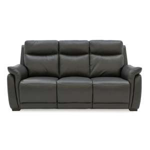 Francesco Leather Fixed 3 Seater Sofa In Grey