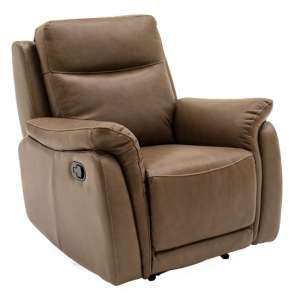 Francesco Leather Recliner 1 Seater Sofa In Tan Brown