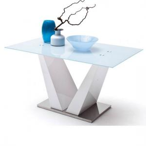 Francesca Dining Table With Frosted White Glass Top