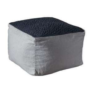 Franco Fabric Upholstered Square Pouffe In Charcoal