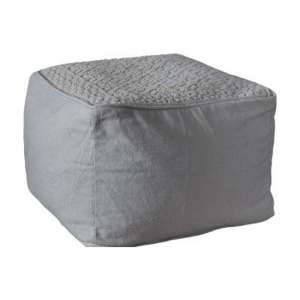 Franco Fabric Upholstered Square Pouffe In Natural