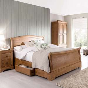 Frank Wooden Bed In Natural Oak Finish With Pull Out Drawer