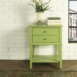Franklin Wooden Side Table In Green With 2 Drawers