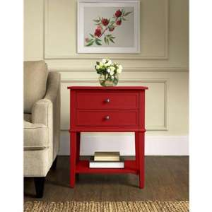 Franklin Wooden Side Table In Red With 2 Drawers
